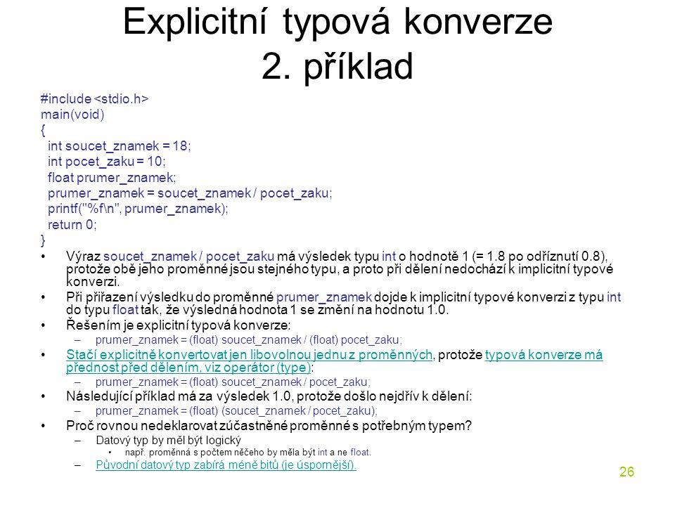 Explicitní typová konverze 2. příklad