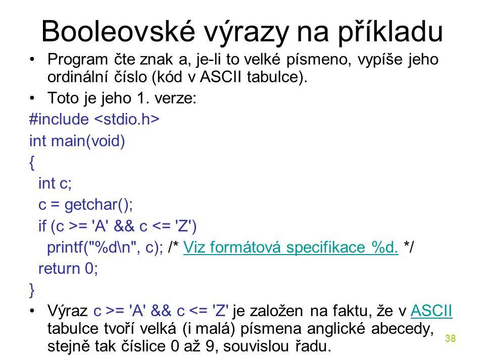Booleovské výrazy na příkladu