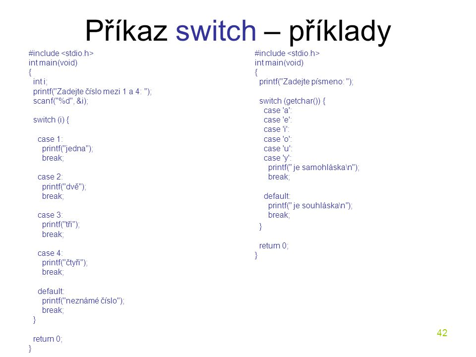 Příkaz switch – příklady