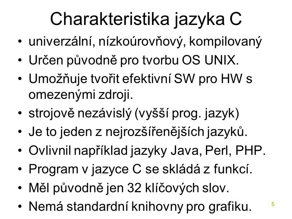 Charakteristika jazyka C
