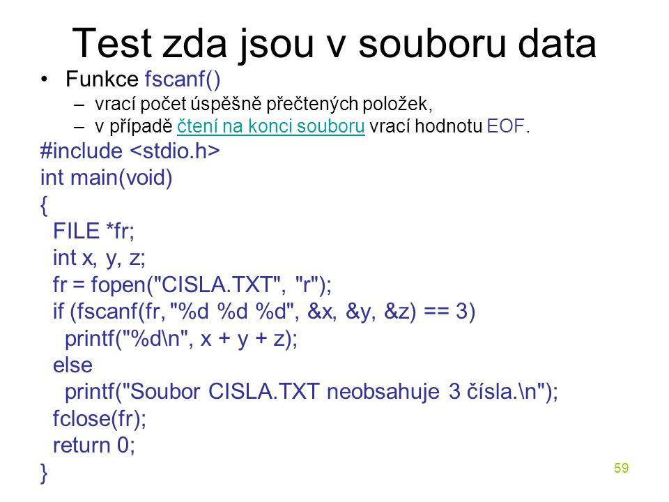 Test zda jsou v souboru data