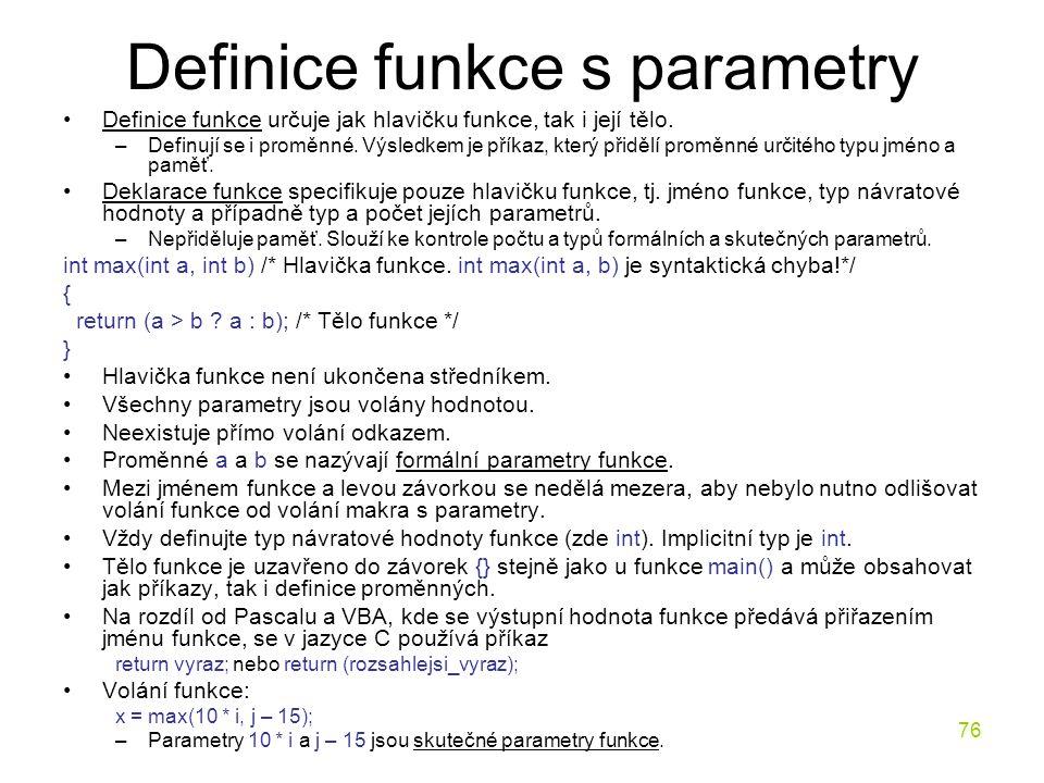 Definice funkce s parametry