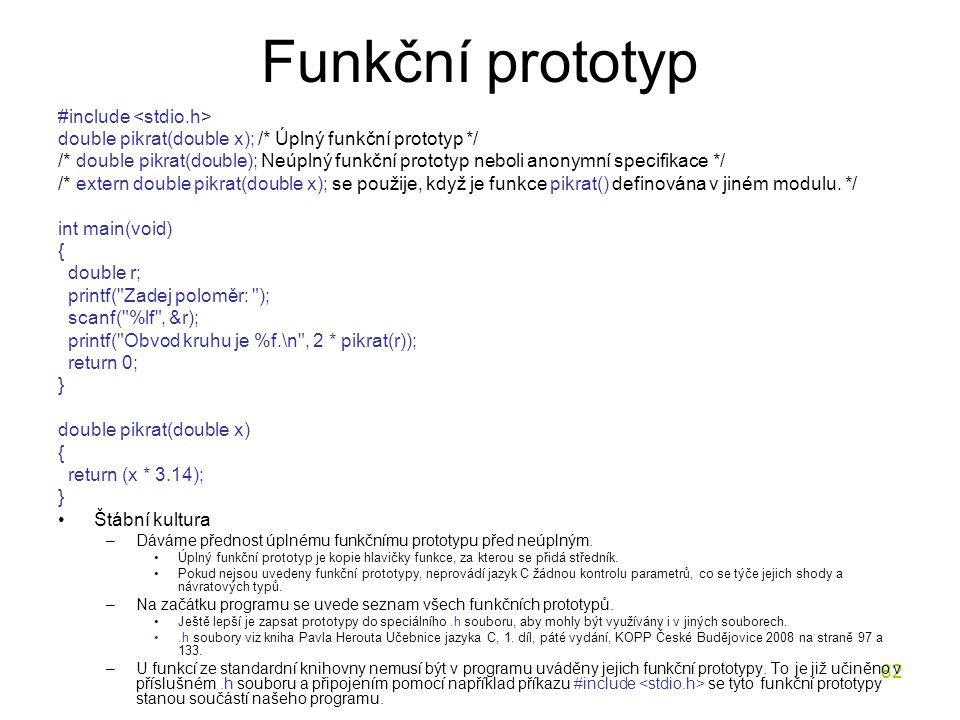 Funkční prototyp #include <stdio.h>