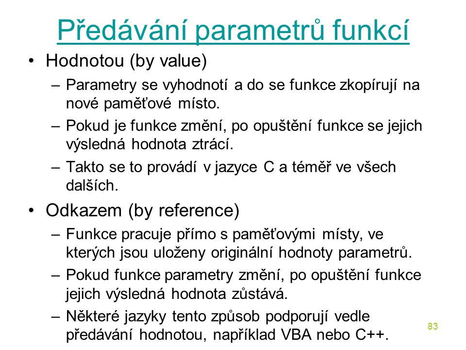 Předávání parametrů funkcí