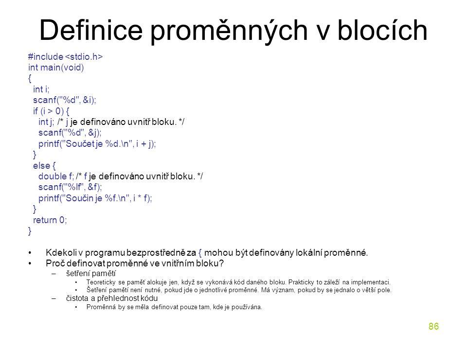 Definice proměnných v blocích