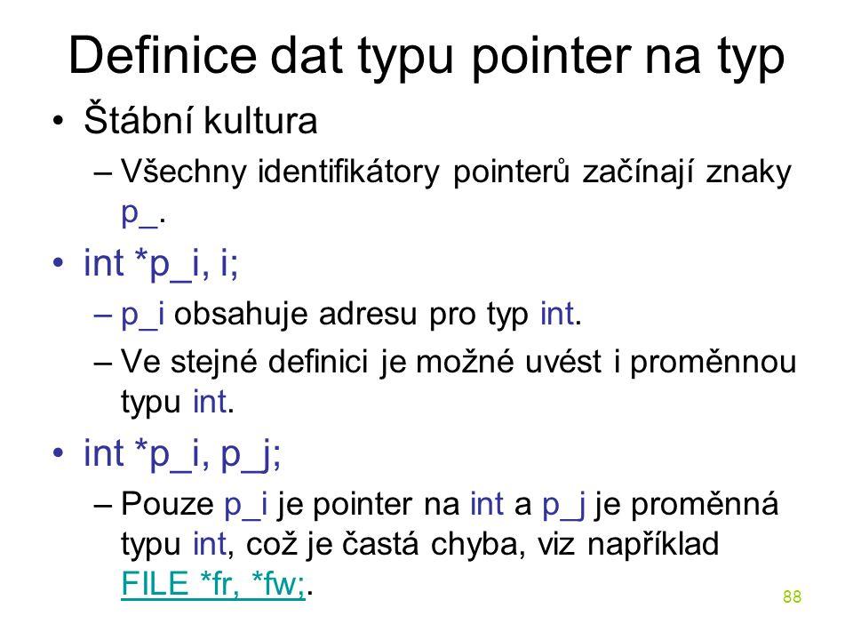 Definice dat typu pointer na typ