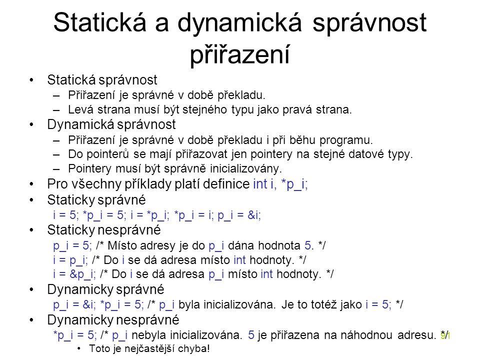 Statická a dynamická správnost přiřazení