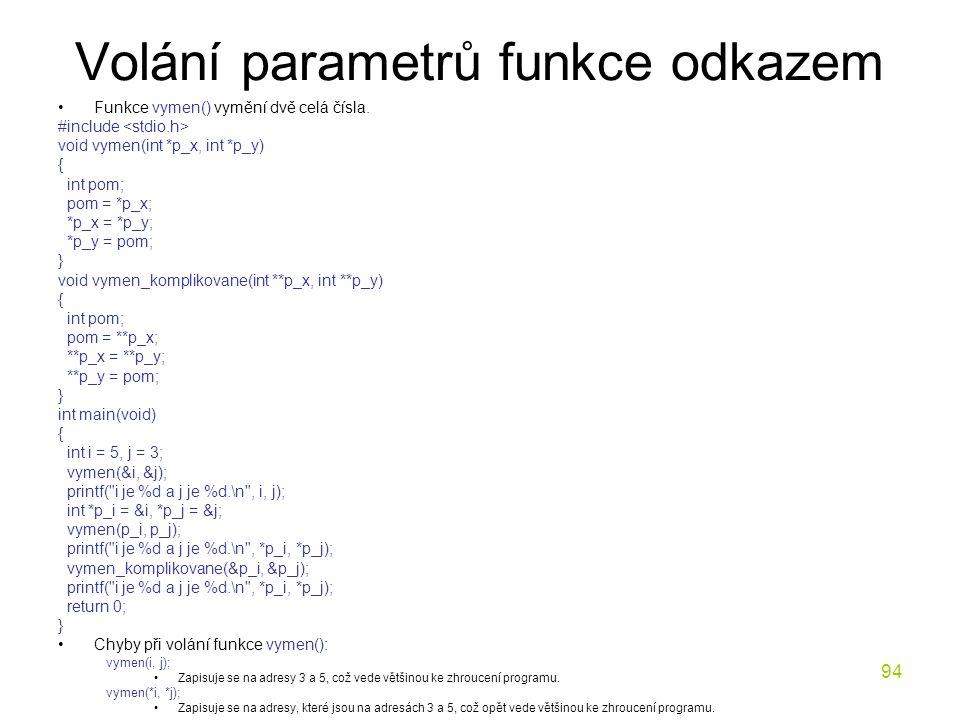 Volání parametrů funkce odkazem