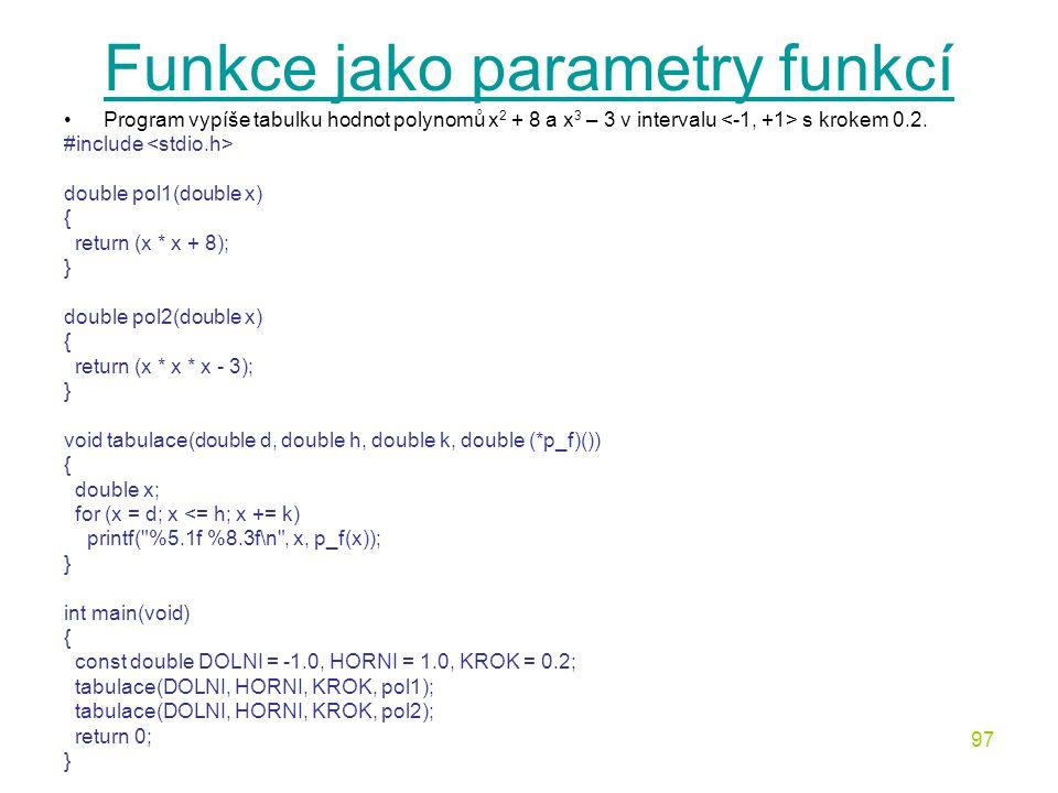 Funkce jako parametry funkcí