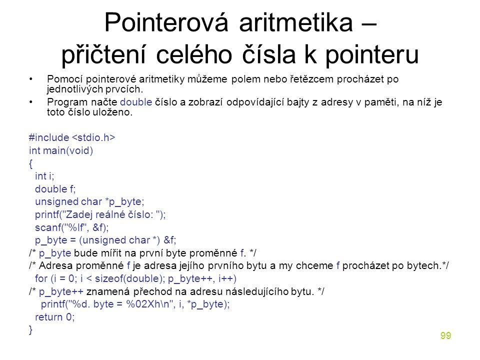 Pointerová aritmetika – přičtení celého čísla k pointeru