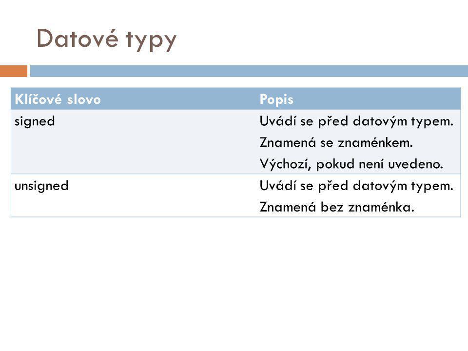 Datové typy Klíčové slovo Popis signed