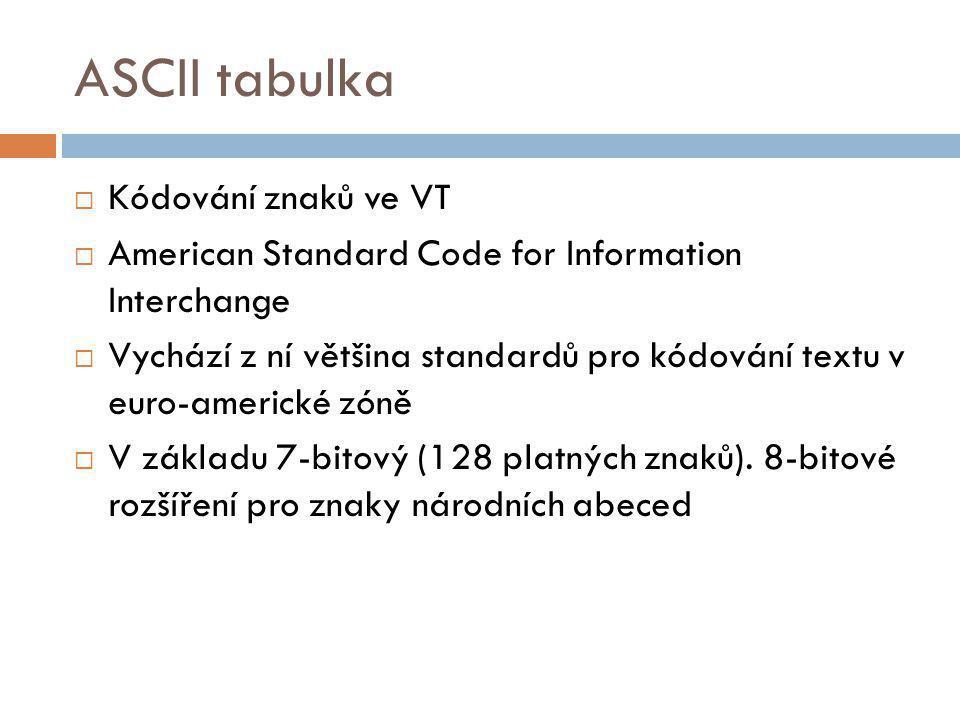 ASCII tabulka Kódování znaků ve VT