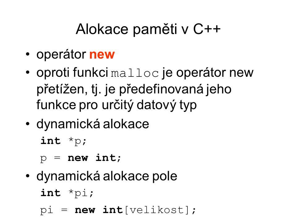 Alokace paměti v C++ operátor new