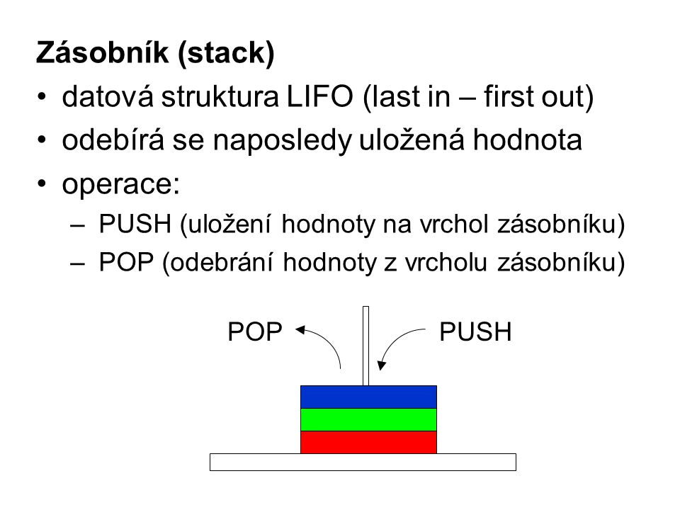 datová struktura LIFO (last in – first out)