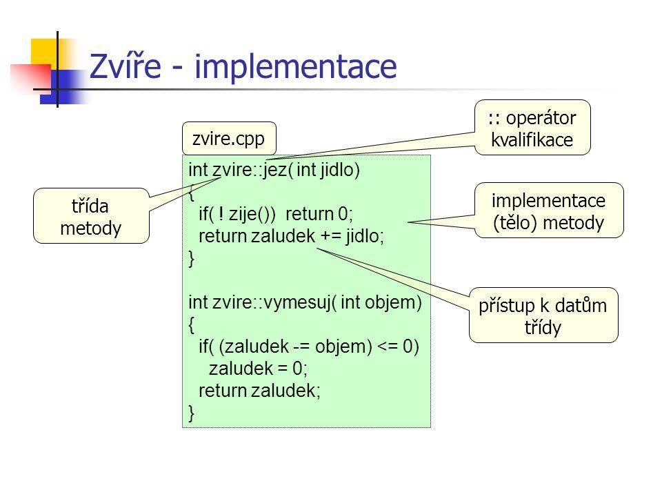 Zvíře - implementace :: operátor kvalifikace zvire.cpp