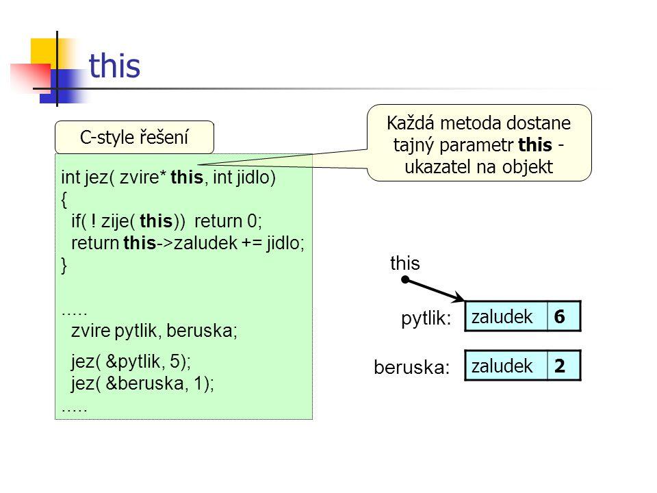 Každá metoda dostane tajný parametr this - ukazatel na objekt