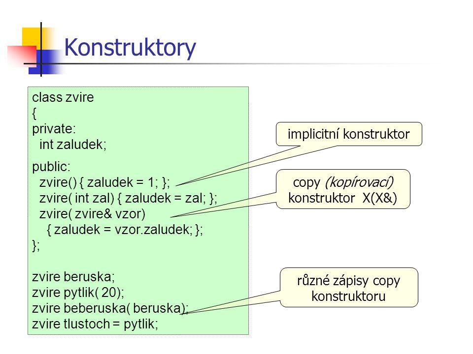 Konstruktory class zvire { private: int zaludek; public: