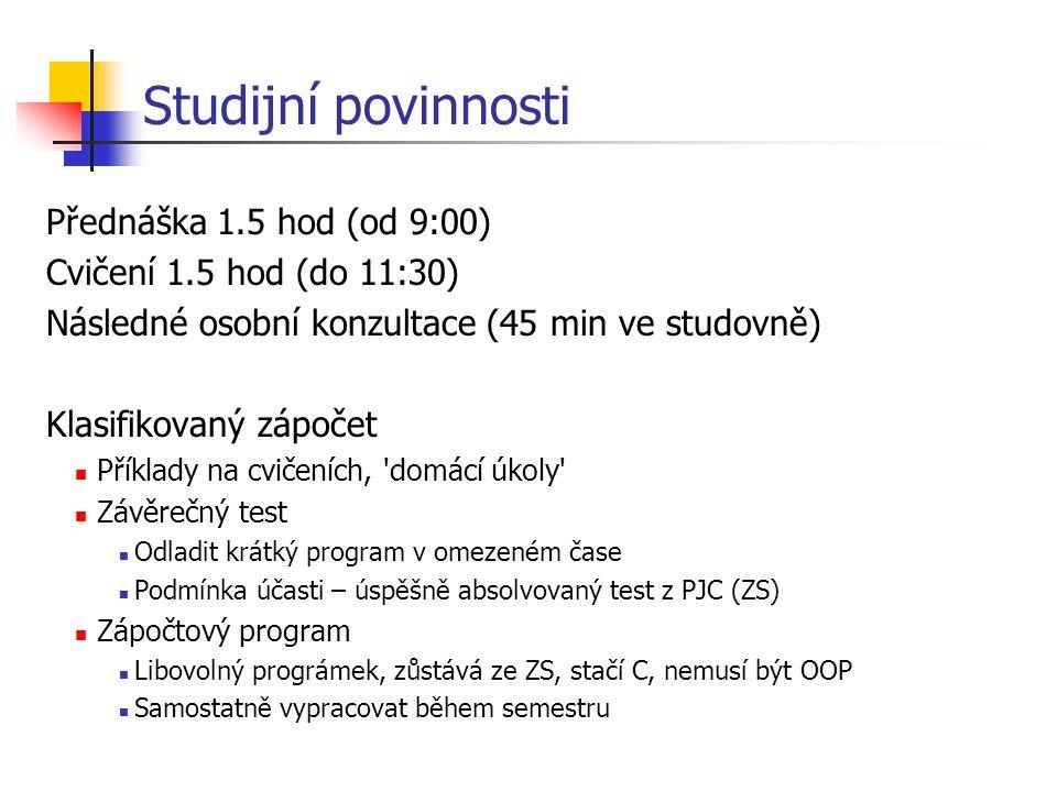 Studijní povinnosti Přednáška 1.5 hod (od 9:00)