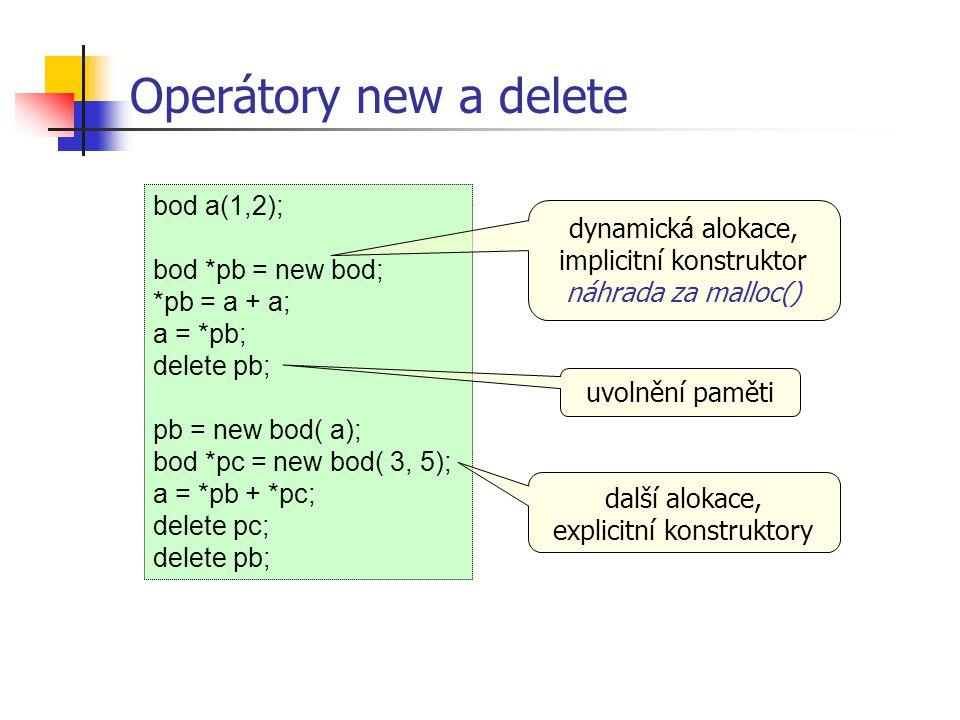 Operátory new a delete bod a(1,2);