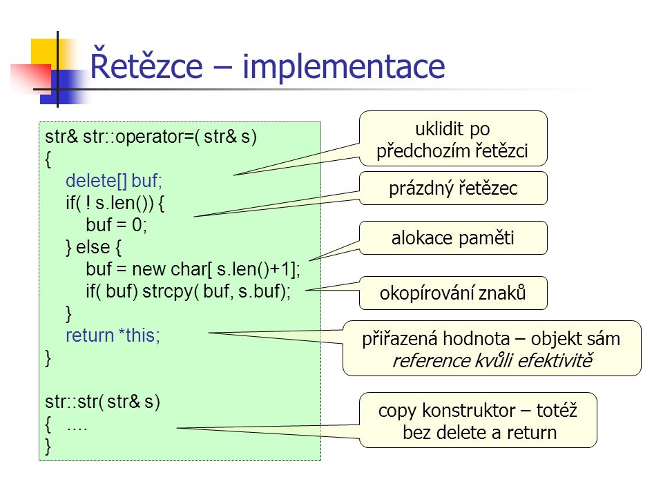 Řetězce – implementace