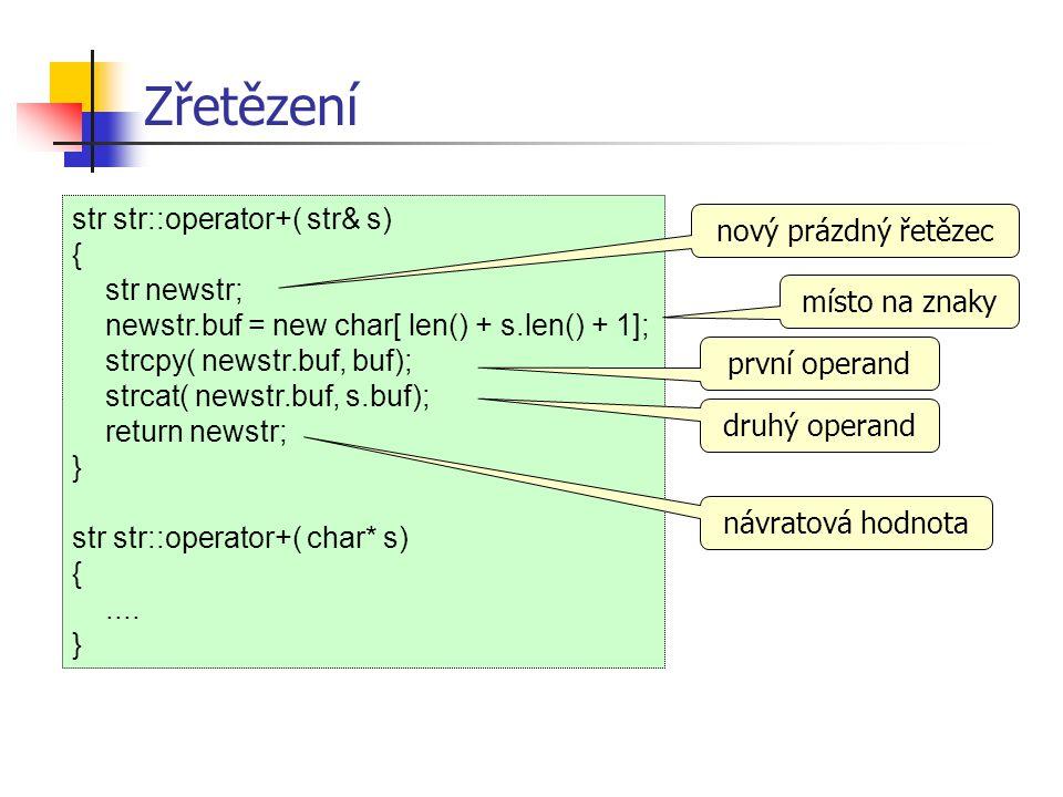 Zřetězení str str::operator+( str& s) nový prázdný řetězec {