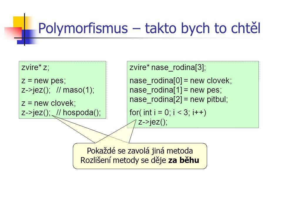 Polymorfismus – takto bych to chtěl