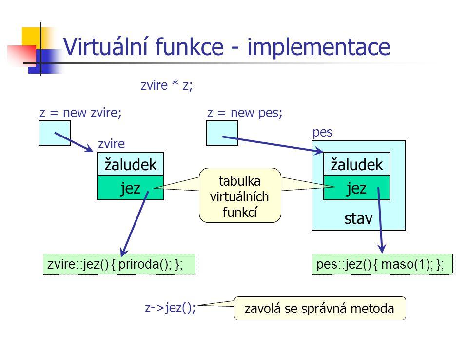 Virtuální funkce - implementace