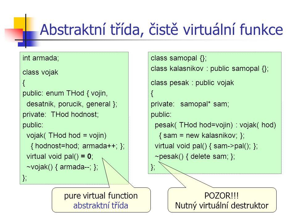 Abstraktní třída, čistě virtuální funkce