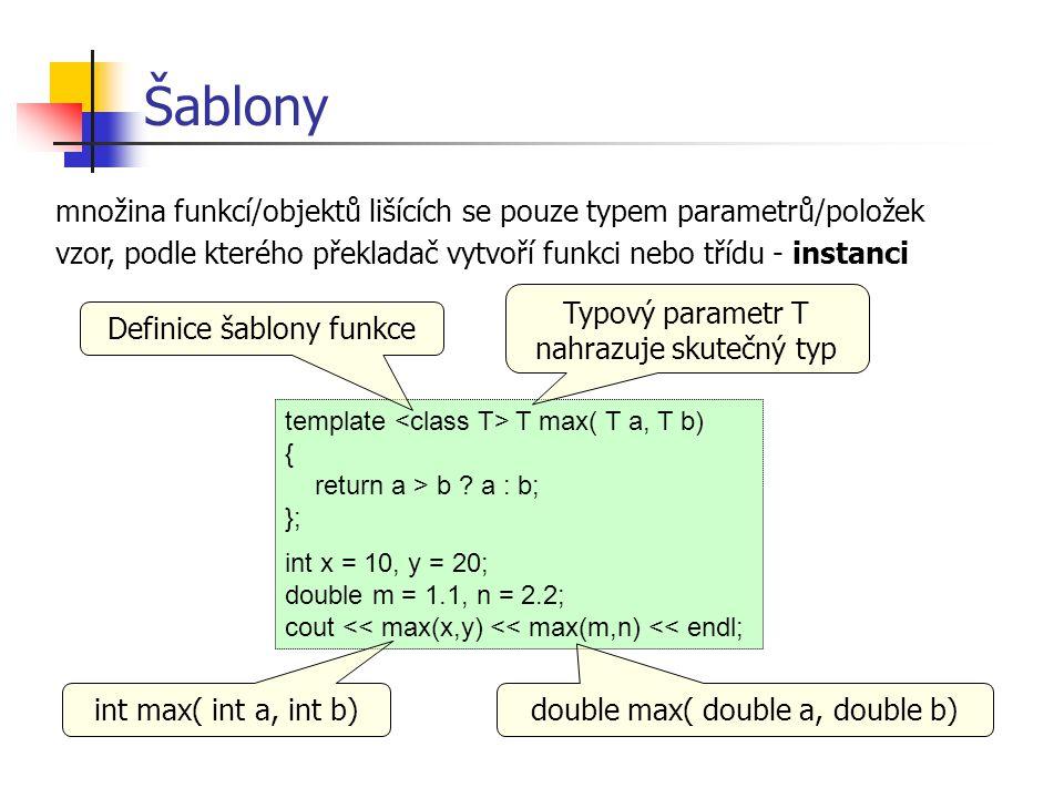 Šablony množina funkcí/objektů lišících se pouze typem parametrů/položek. vzor, podle kterého překladač vytvoří funkci nebo třídu - instanci.