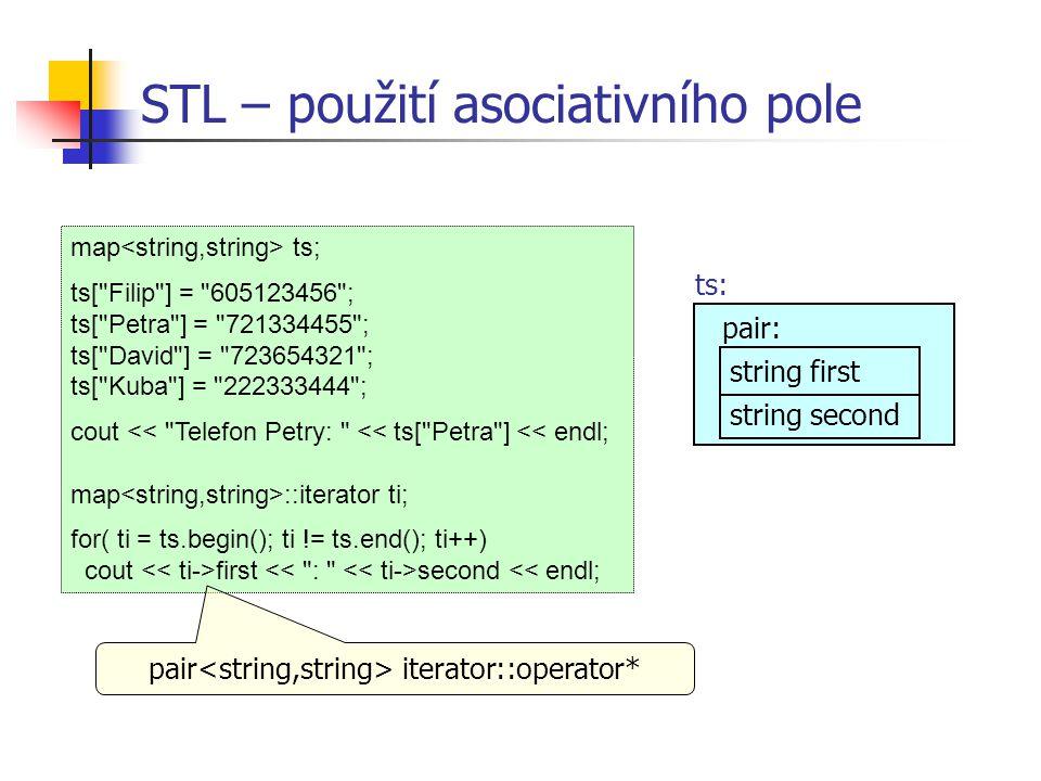 STL – použití asociativního pole