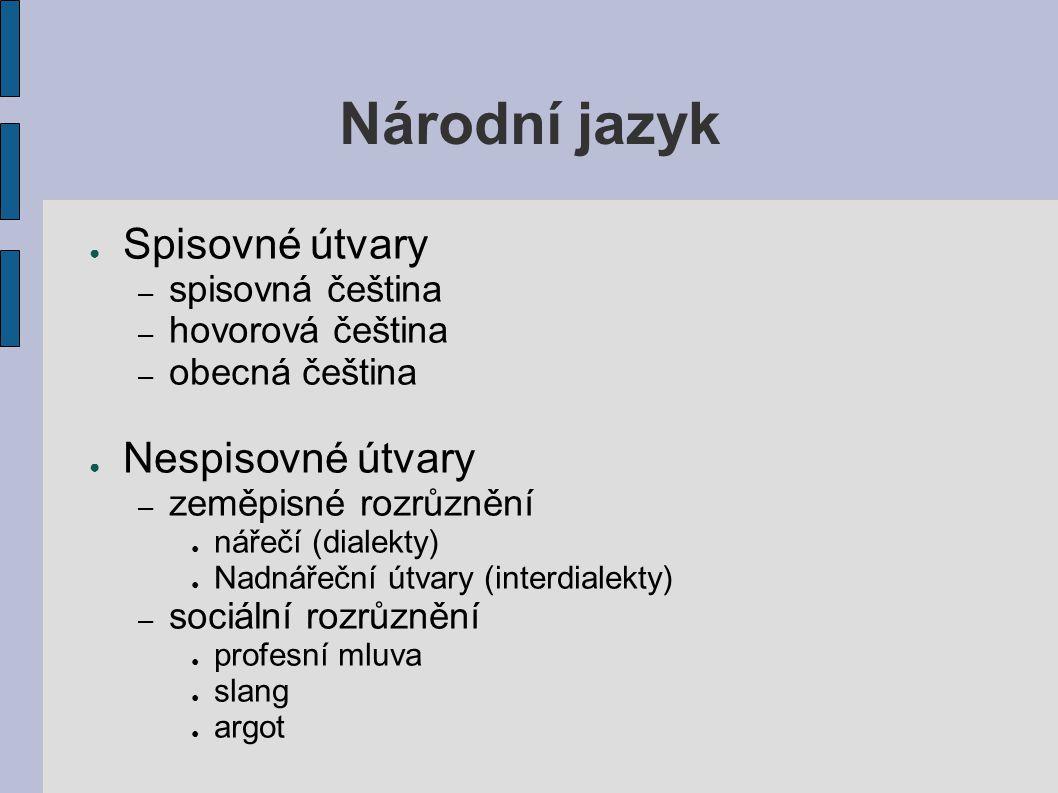 Národní jazyk Spisovné útvary Nespisovné útvary spisovná čeština