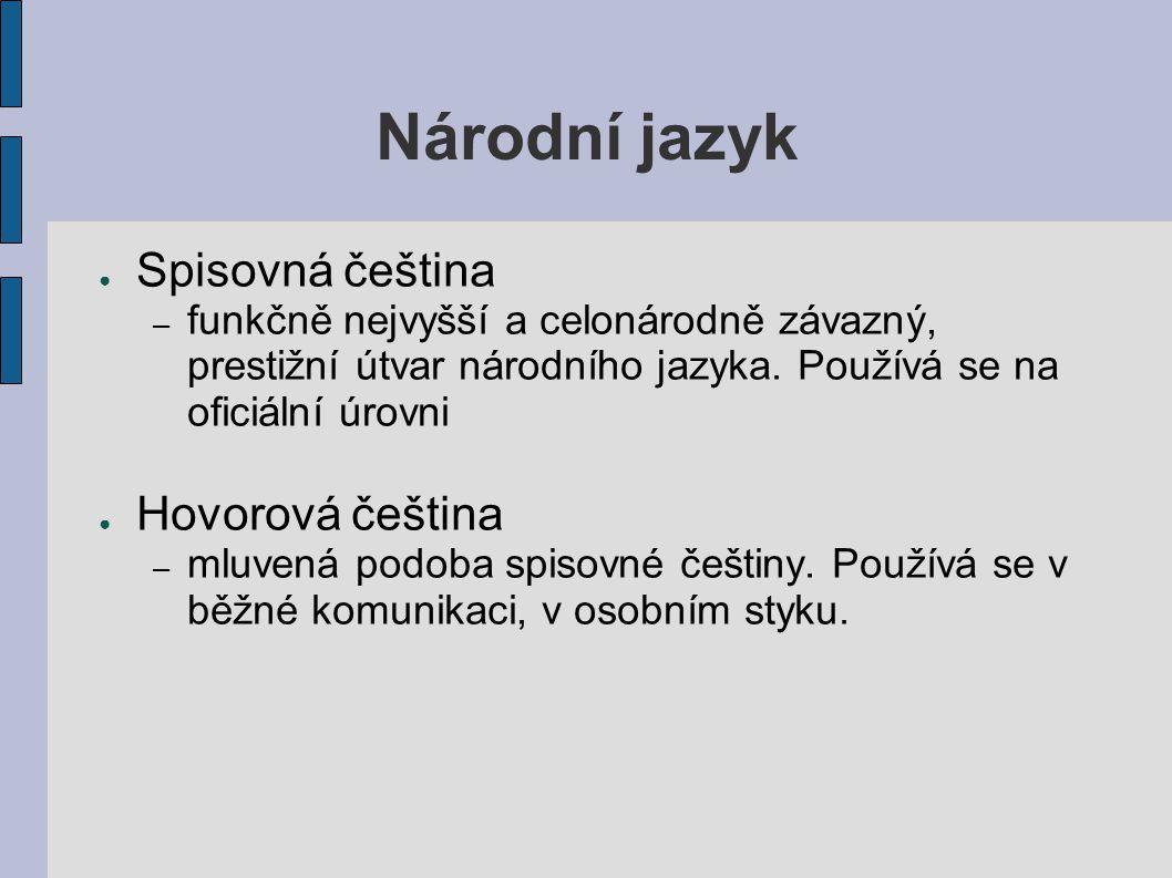 Národní jazyk Spisovná čeština Hovorová čeština