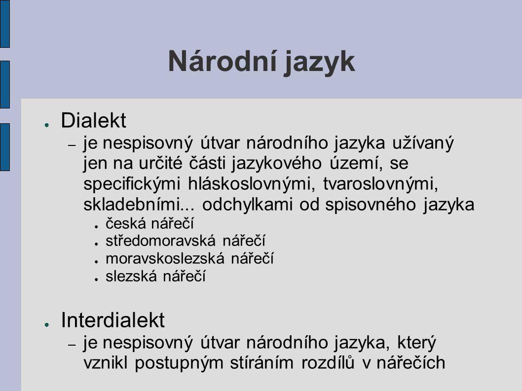 Národní jazyk Dialekt Interdialekt
