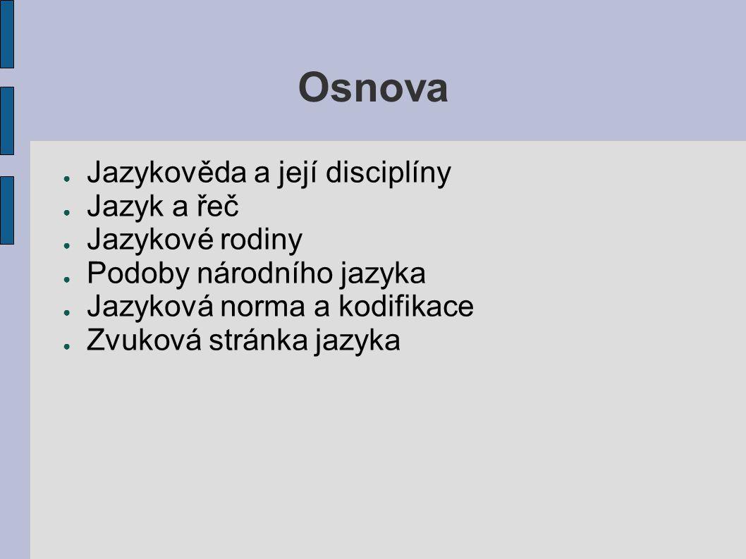 Osnova Jazykověda a její disciplíny Jazyk a řeč Jazykové rodiny