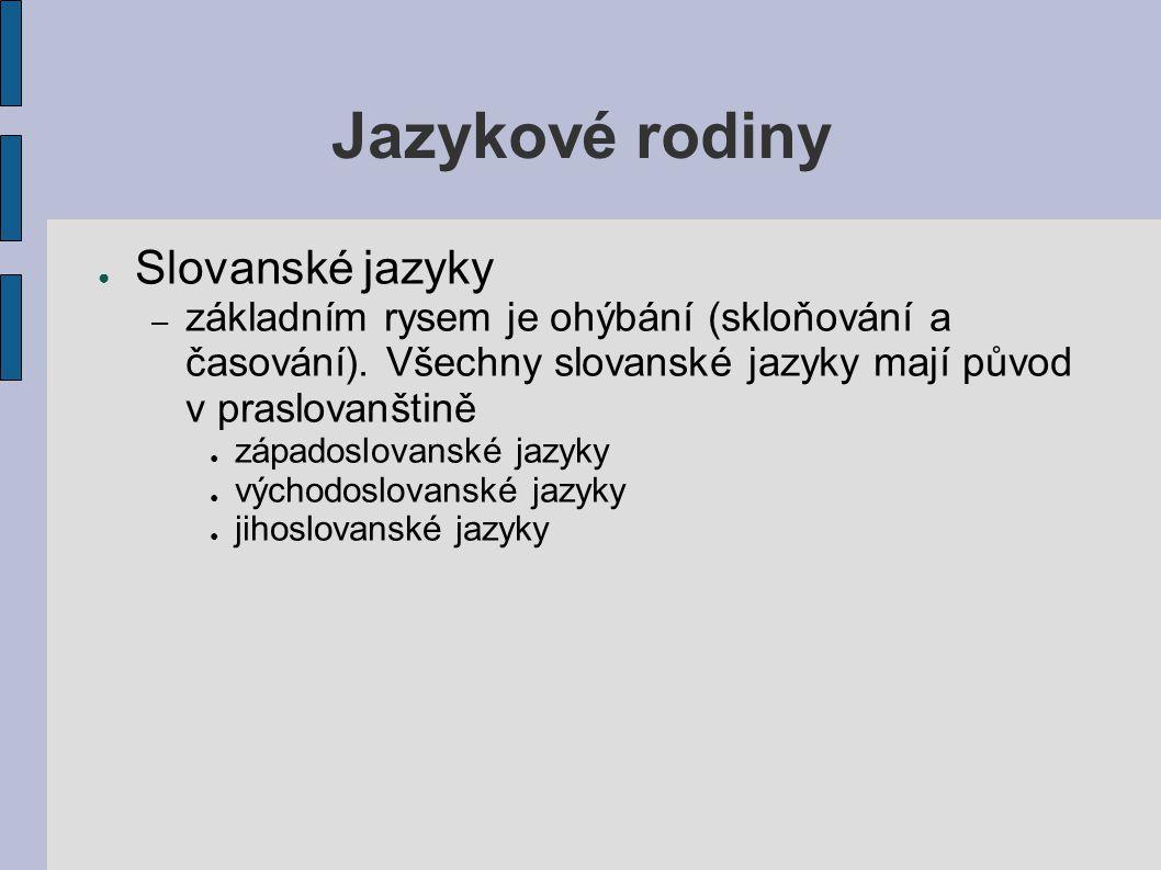Jazykové rodiny Slovanské jazyky