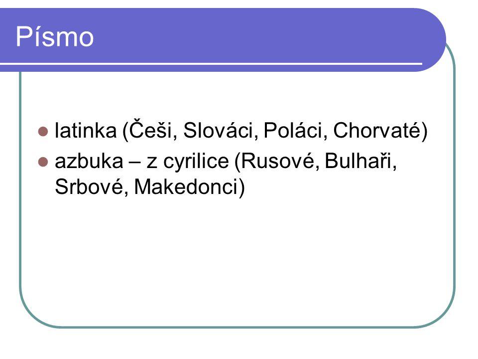 Písmo latinka (Češi, Slováci, Poláci, Chorvaté)