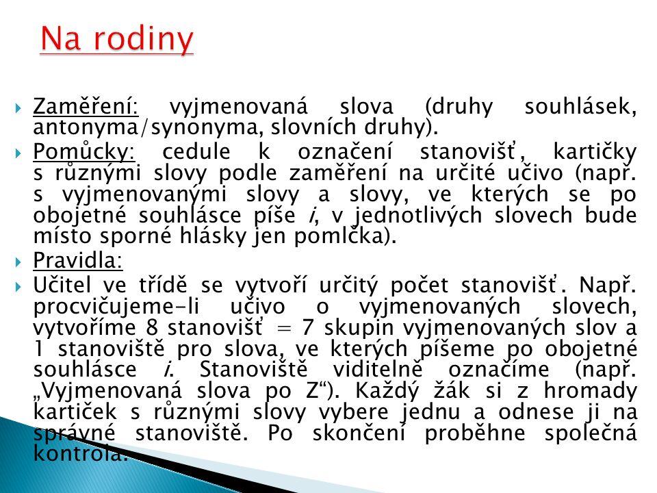 Na rodiny Zaměření: vyjmenovaná slova (druhy souhlásek, antonyma/synonyma, slovních druhy).