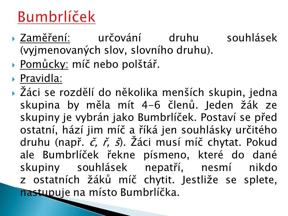 Bumbrlíček Zaměření: určování druhu souhlásek (vyjmenovaných slov, slovního druhu). Pomůcky: míč nebo polštář.