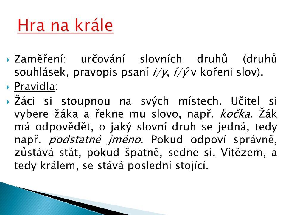 Hra na krále Zaměření: určování slovních druhů (druhů souhlásek, pravopis psaní i/y, í/ý v kořeni slov).