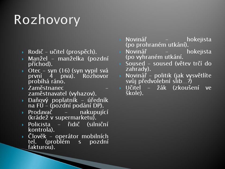 Rozhovory Novinář – hokejista (po prohraném utkání).