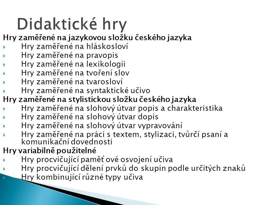 Didaktické hry Hry zaměřené na jazykovou složku českého jazyka