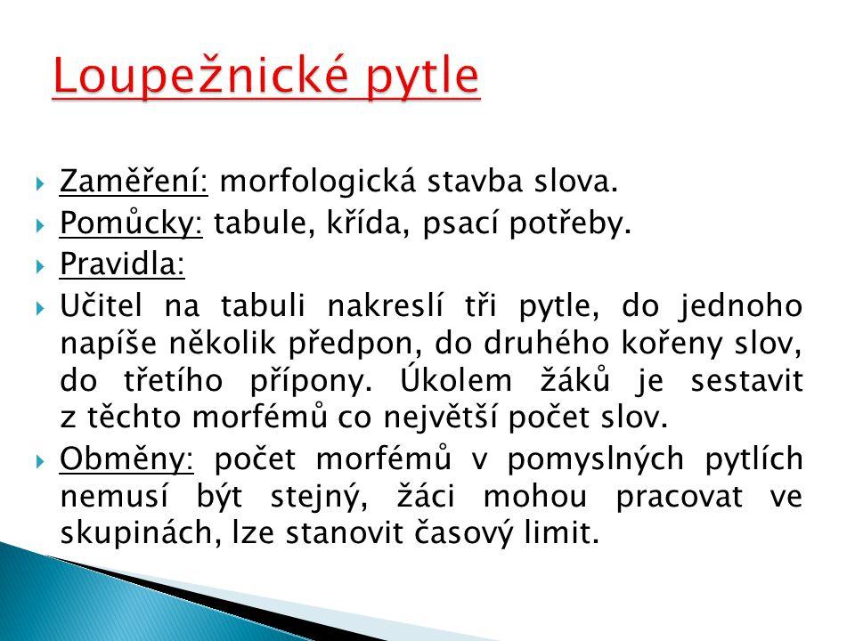Loupežnické pytle Zaměření: morfologická stavba slova.