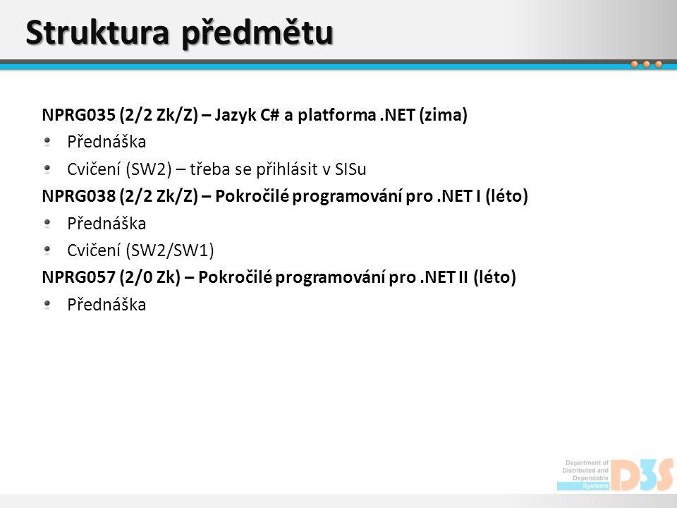 Struktura předmětu NPRG035 (2/2 Zk/Z) – Jazyk C# a platforma .NET (zima) Přednáška. Cvičení (SW2) – třeba se přihlásit v SISu.