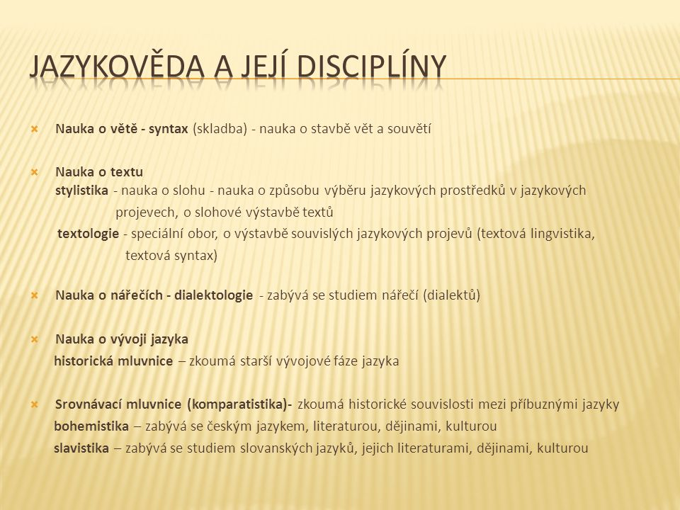 Jazykověda a její disciplíny
