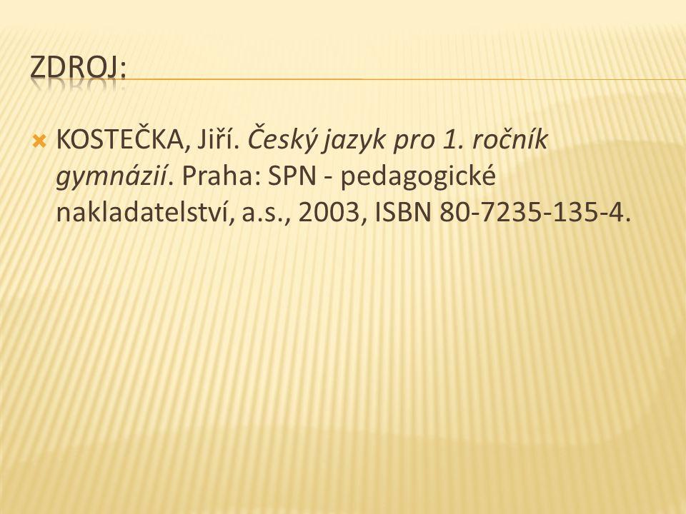 Zdroj: KOSTEČKA, Jiří. Český jazyk pro 1. ročník gymnázií.