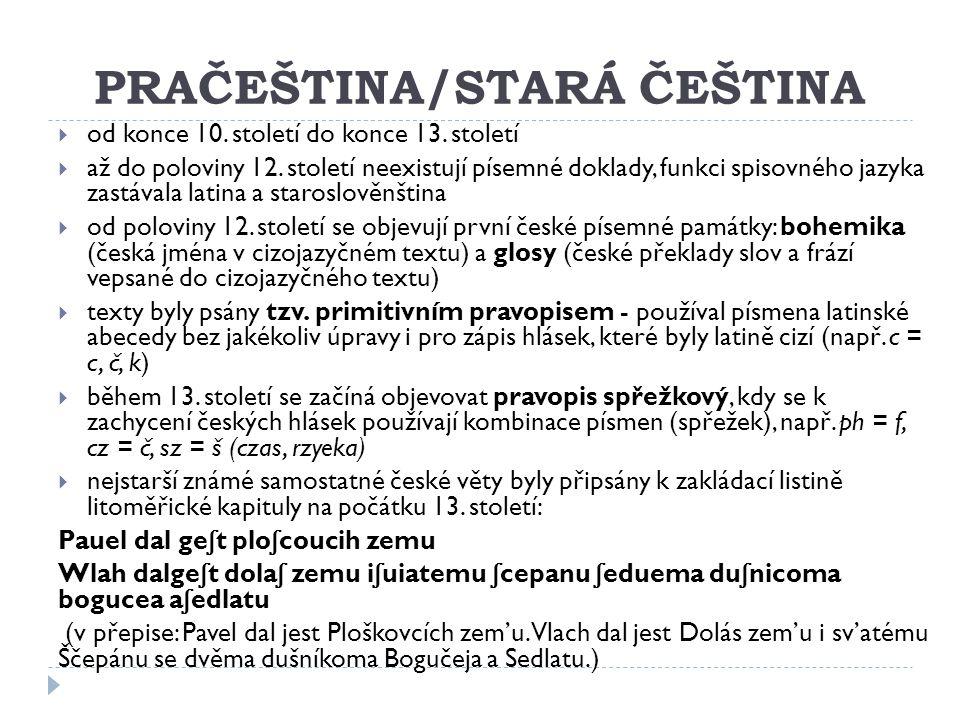 PRAČEŠTINA/STARÁ ČEŠTINA