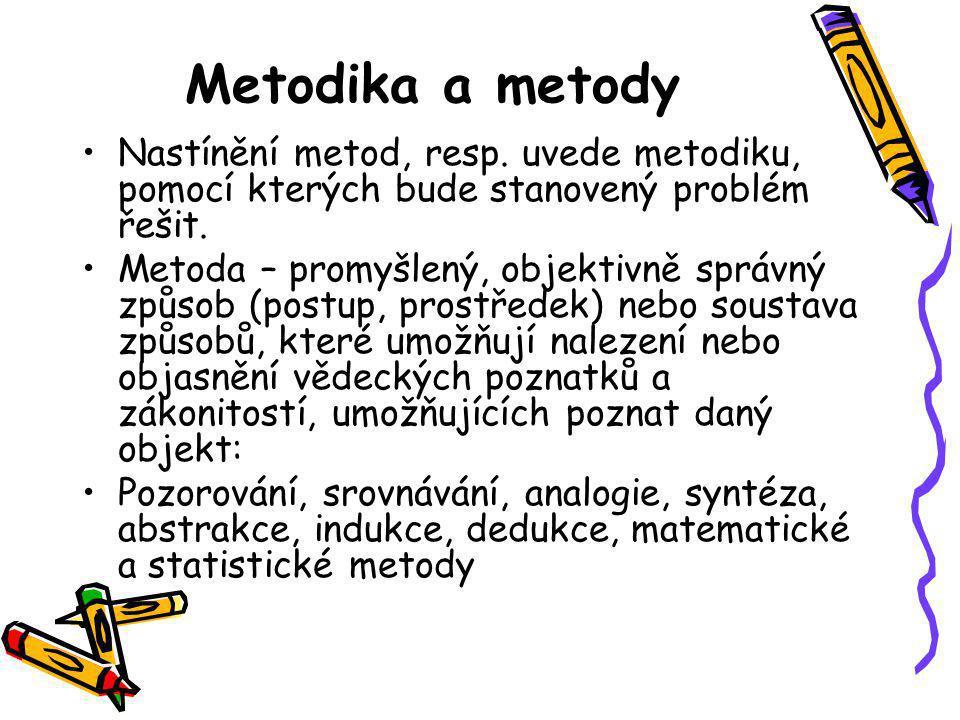 Metodika a metody Nastínění metod, resp. uvede metodiku, pomocí kterých bude stanovený problém řešit.