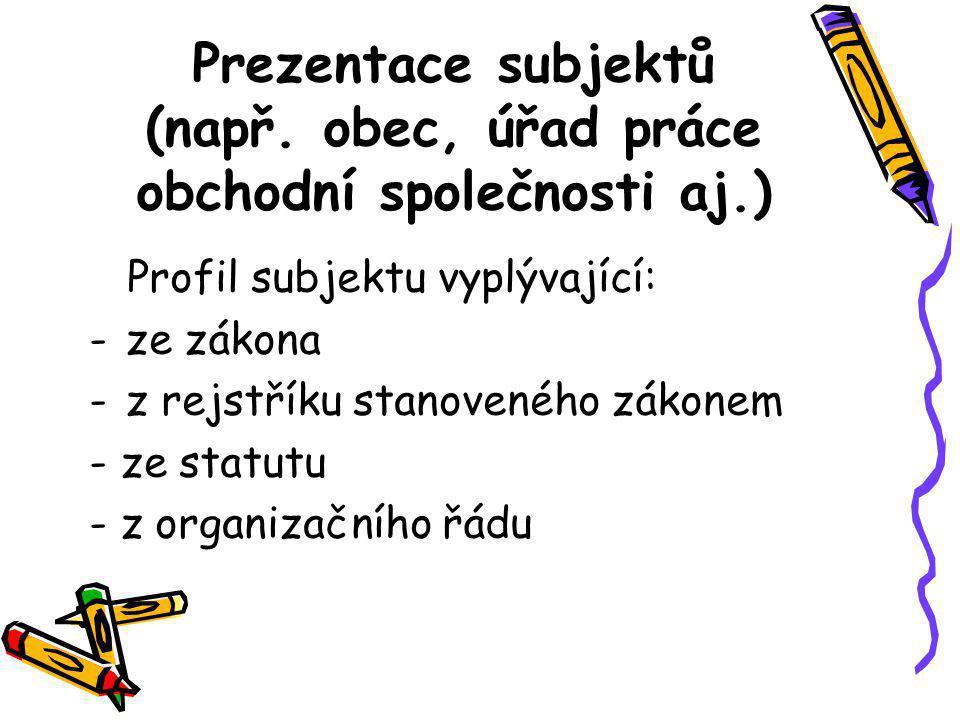Prezentace subjektů (např. obec, úřad práce obchodní společnosti aj.)