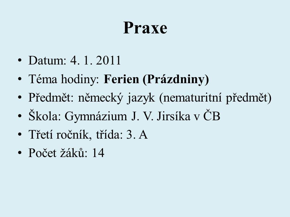 Praxe Datum: 4. 1. 2011 Téma hodiny: Ferien (Prázdniny)