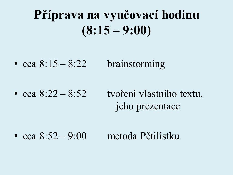 Příprava na vyučovací hodinu (8:15 – 9:00)